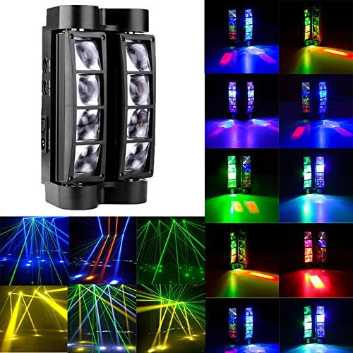 9Fshine Moving Spider Stage Light, 8X10 RGB Auto / Voice / DMX512 Moving Head LED Led Laser 4 in 1 Control Modes Beam Light, for Halloween Christmas Festival DJ Disco Party by 9Fshine