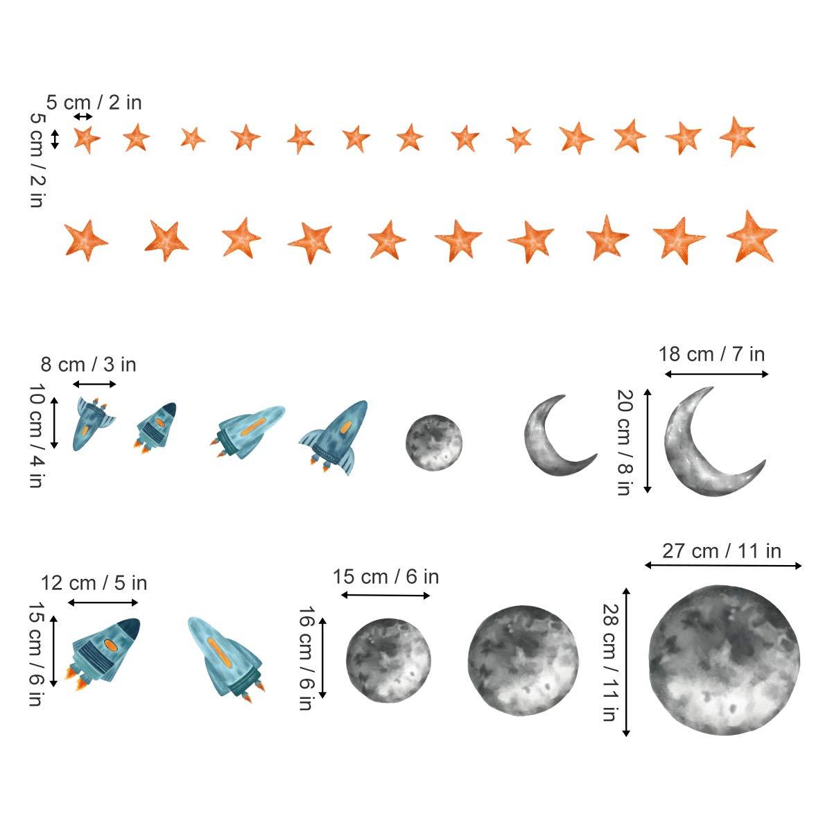 ufengke Pegatinas de Pared Espacio Exterior Vinilos Adhesivas Pared Planeta Cohete Estrella para Dormitorio Habitaci/ón Infantiles Ni/ños Sala de Estar