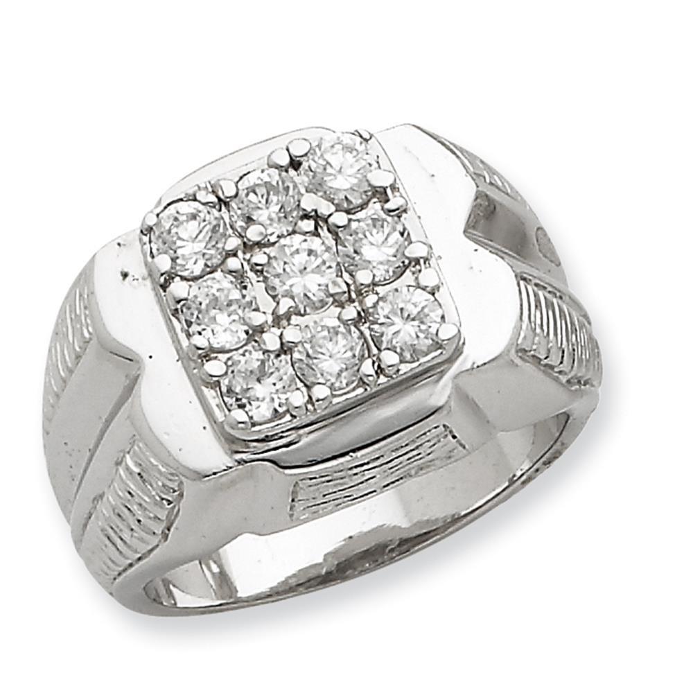 Mens 925 Sterling Silver Polished /& Patterned CZ Ring