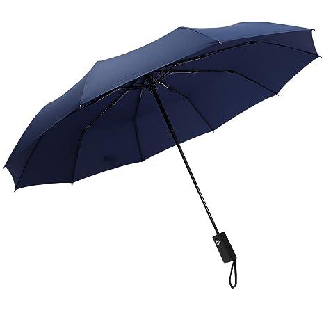 DORRISO Paraguas Plegable Automático Mujer Hombres Viajar Trabajar Multiuso y Resistente al Viento Impermeable Antideslizante Mango