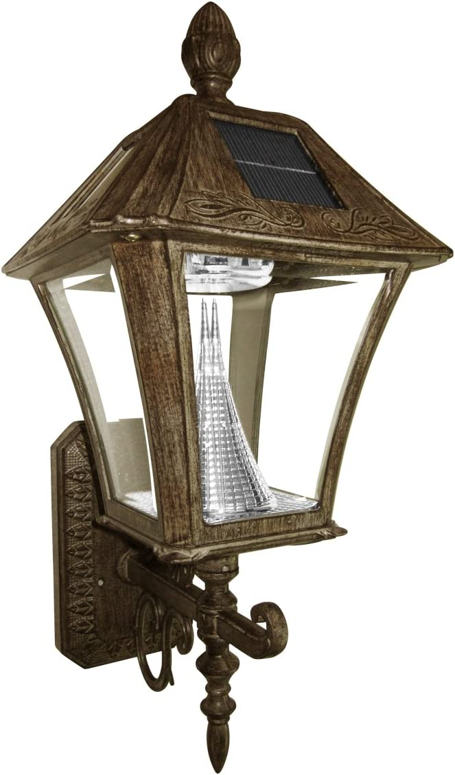 Gama Sonic Baytown Solar Outdoor LED Light Fixture, Wall Mount, Weathered Bronze Finish GS-106W-WB