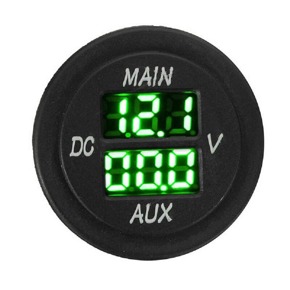 MASO Car Motorcycle DC 12-24V Dual LED Digital Round Panel Voltmeter Ammeter Amp Volt Meter Guage(Green) by Maso