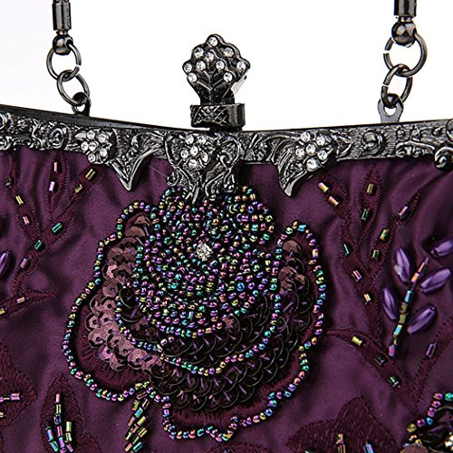 Ideas Party Prom Veni colors Handbag Design piece Clutch Elegant Purple Masee Bag Evening Bead Price Various Gift Flower r8I87wq