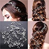 Tsuen Bridal Hair Vine Crystals Wedding Headpieces, 20 Inches Handmade Crystal Pearl Wedding Evening Party Headpiece Head Band Hair Accessories for Bridesmaid and Flowergirls, Silver