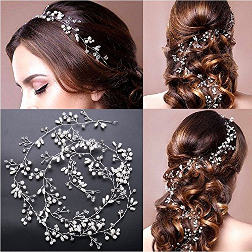 Tsuen Bridal Hair Vines Crystals Wedding Headpieces, 20 Inches Handmade Crystal Pearl Wedding Evening Party Headpiece Head Band Bride Wedding Hair Accessories for Bridesmaid and Flowergirls, Silver