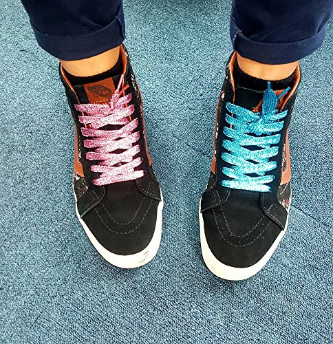 """16 Pairs Shimmery 42"""" Solid Colors Flat Shoelaces Shoe Laces for Teams Cheer Dance Sneakers - Image 2"""
