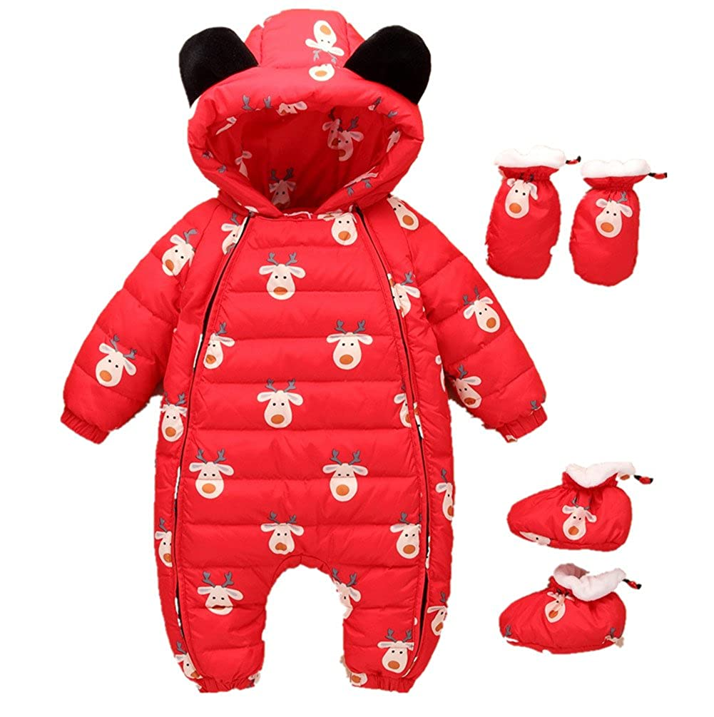 Beide Baby Christmas Hooded Winter Puffer Snowsuit with Shoes and Gloves