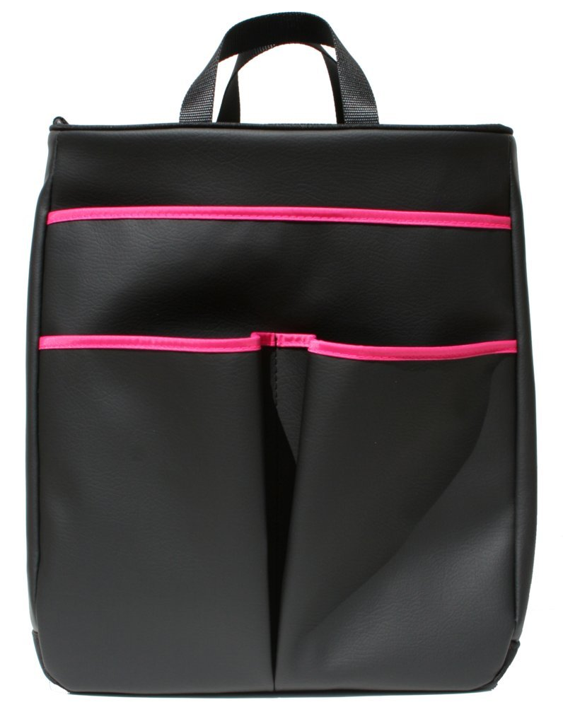 40 Love Courture Sophi Tennis Tote Bag - Black Faux Leather with Pink Lining