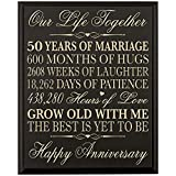 """LifeSong Milestones 50th Wedding Anniversary Wall Plaque Gifts for Couple, 50th Anniversary Gifts for Her,50th Wedding Anniversary Gifts for Him 12 W X 15"""" H Wall Plaque By (Black)"""