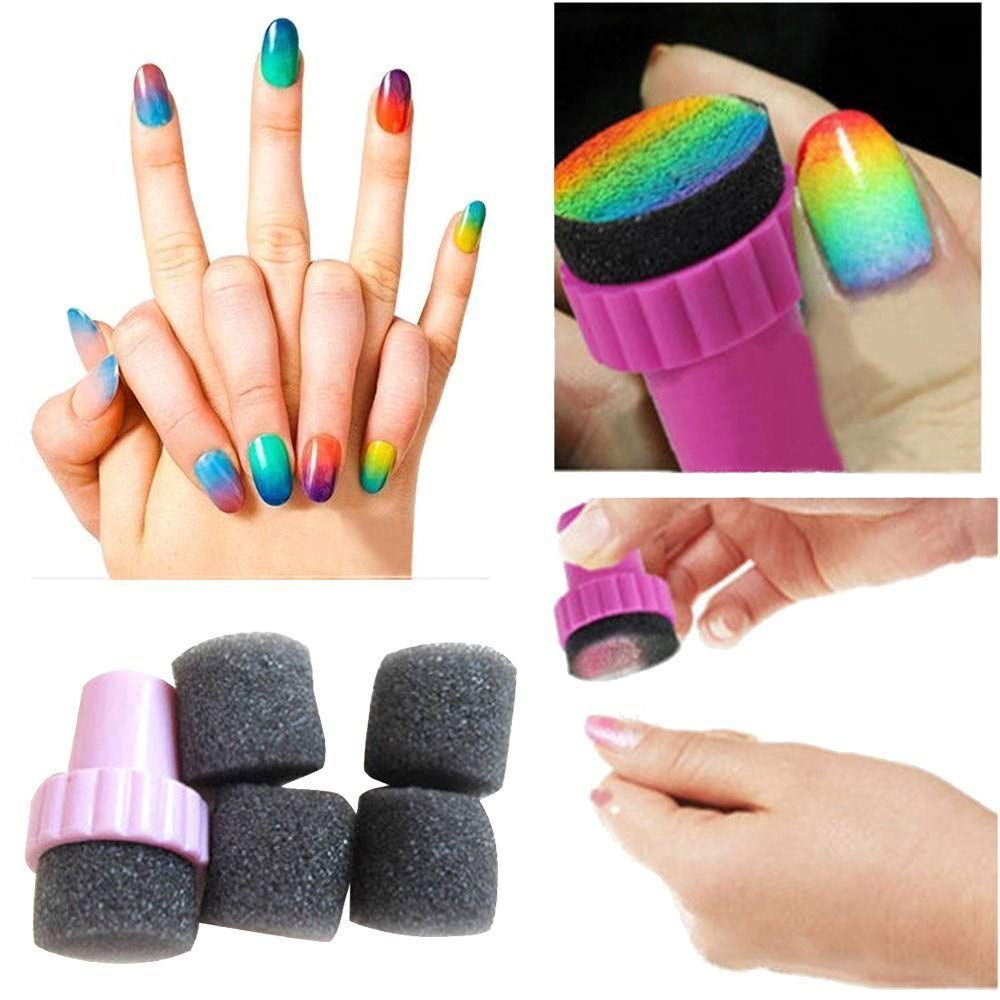 Nicedeal Nail Art Polish Sponge Brush Stamping Polish Template Transfer Manicure 5pcs Make-up Tools and Brushes for Beauty
