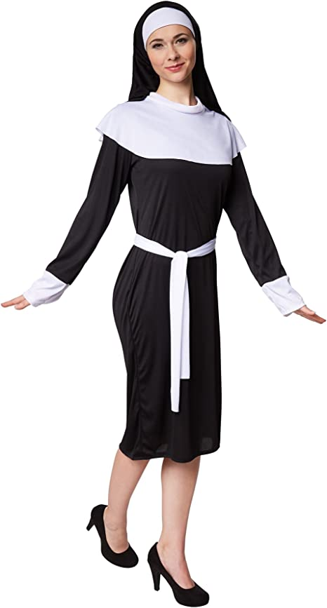 TecTake dressforfun Disfraz de Monja para Mujer | Vestido Negro ...