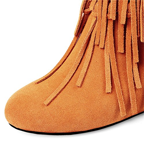 Classy Ankle Brown Women's Leather Handmade Suede Boots Round With Toe Party Heel Tassels Cute Seven Mid Nine va7pqxwf