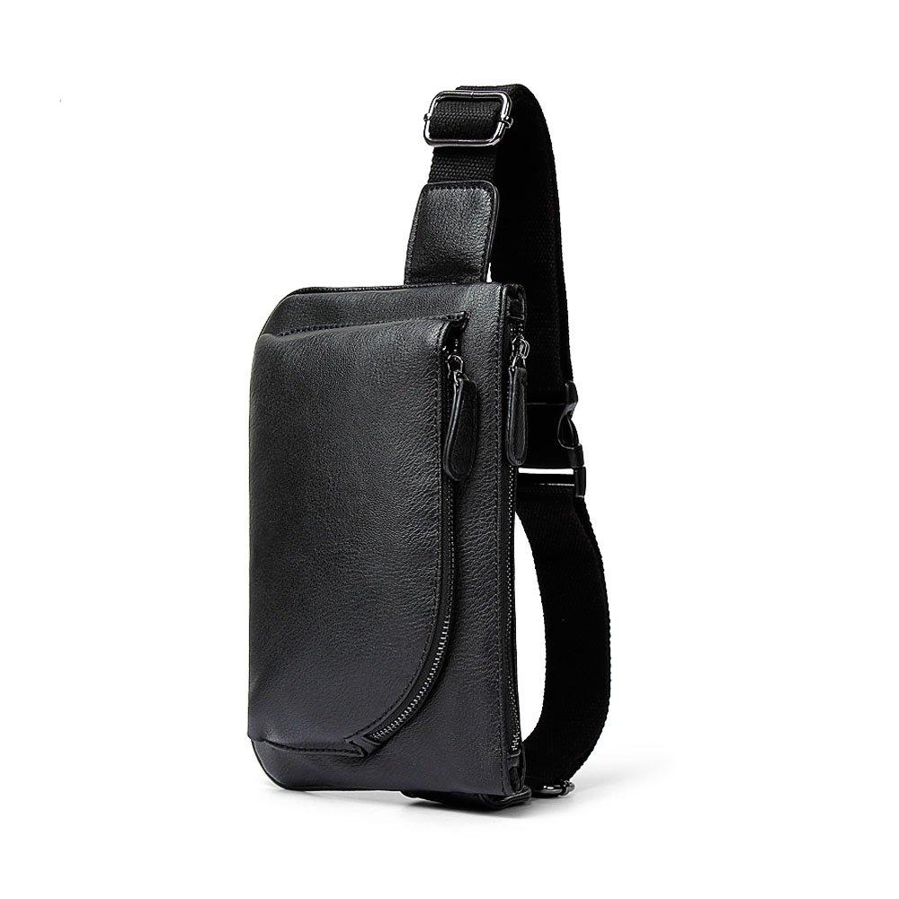ivotreショルダースリングバッグソフトPUレザー大容量ブランド新しいクロスボディバッグ機能的でファッショナブルな胸パックのメンズ、十代、Boys B0749MCB3D