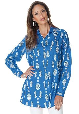a646718fd1e Image Unavailable. Image not available for. Color  Roamans Plus Size  Roaman s Wrinkle Resistant Boyfriend Shirt