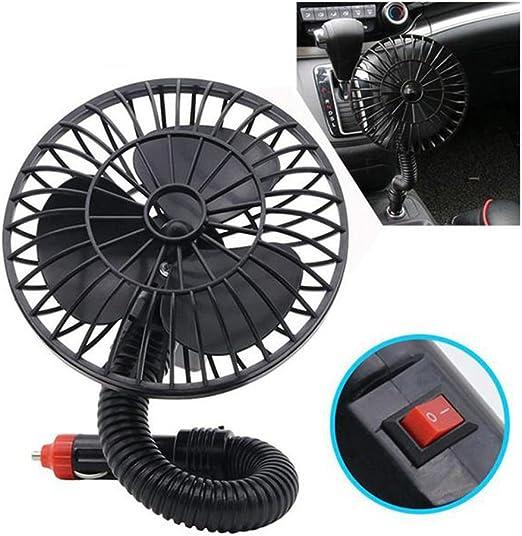 LIOOBO 12 V Mini Ventilador de Coche Eléctrico Portátil Coche de Bajo Ruido 360 Grados de Rotación Ajustable Suministros de Enfriamiento de Verano: Amazon.es: Hogar