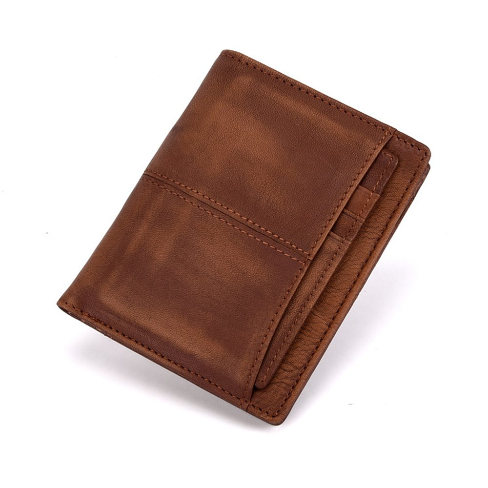 RFID Blocking Wallets for Men Leather Card Holder Classical Short Purse (Coffee) LETEULO 9089-COFE