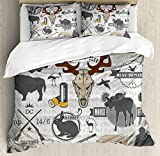 Hunting Decor Duvet Cover Set Queen Size by Ambesonne, Wildlife Theme Vintage Graphic Labels Weapons Ammunition Moose Elk Rabbit, Decorative 3 Piece Bedding Set with 2 Pillow Shams, Multicolor