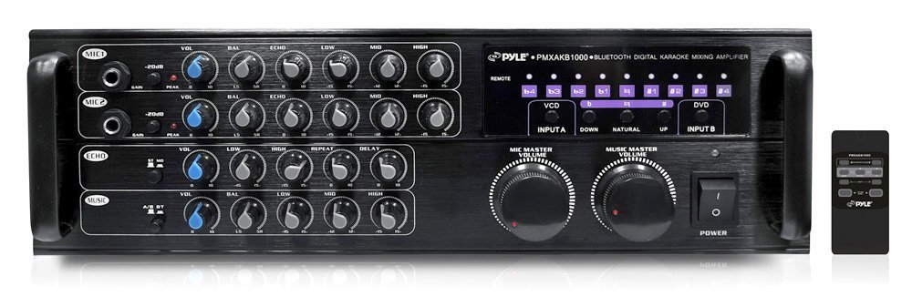 Pyle PMXAKB10001000 Watt DJ Karaoke Mixer and Amplifier with Built-in Bluetooth2 Microphone Inputs with Effects and EQ [並行輸入品]B018KJRP9G