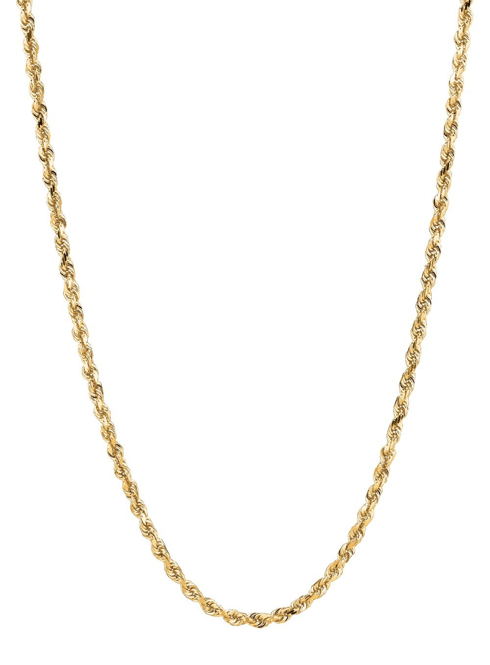 14K Solid Yellow Gold Diamond Cut Rope Pendant Link Chain/Necklace 2 Mm (22 Inches)