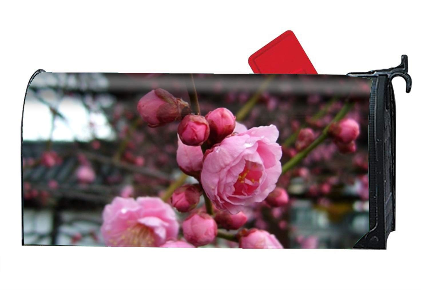FunnyLife Welcome Mailbox Cover Plumblossompink Mailbox Wrap for Spring, Summer, Fall/Autumn and Winter