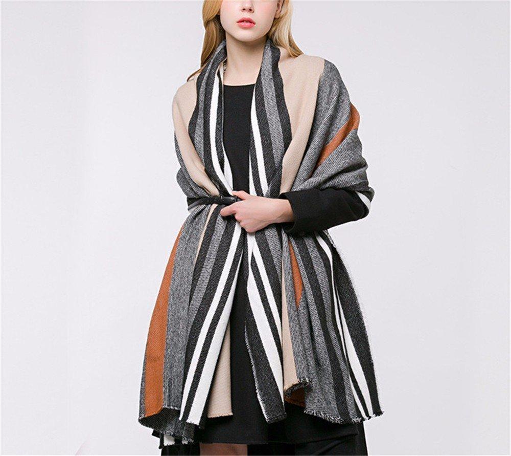 DIDIDD Bufanda-damas otoño e invierno rayas bufanda chal multifuncional de cachemira de doble uso