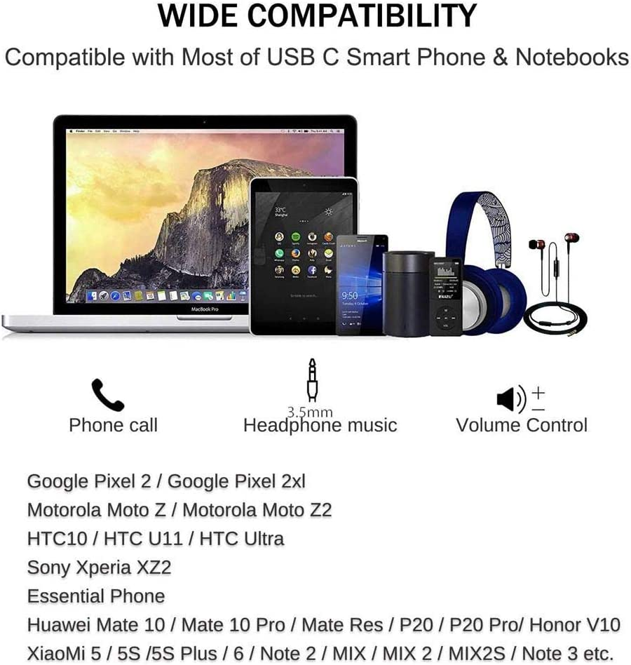 2 Pack USB C to 3.5mm Headphone Jack Adapter USB Type C to 3.5mm Adapter Compatible with Pixel 4 3 2 XL Samsung S10 S9 Plus Note 10 iPad Pro,Mate 30 20 Pro and More
