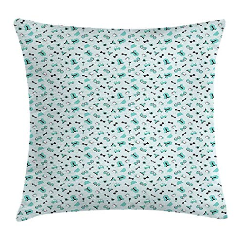 (GOEUME Baby Shower Throw Pillow Cushion Cover, Illustrated Pattern of Baby Boy Accessories for Newborn Kids Children, Decorative Square Accent Pillow Case, 18 X 18 Inches, Aqua Black and White)