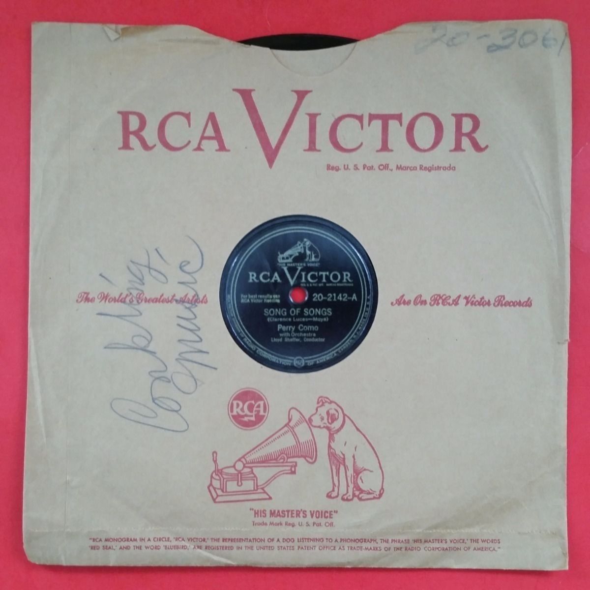 PERRY COMO Song Of Songs b/w Easter Parade 78 rpm Vinyl VG RCA Victor 20 2142