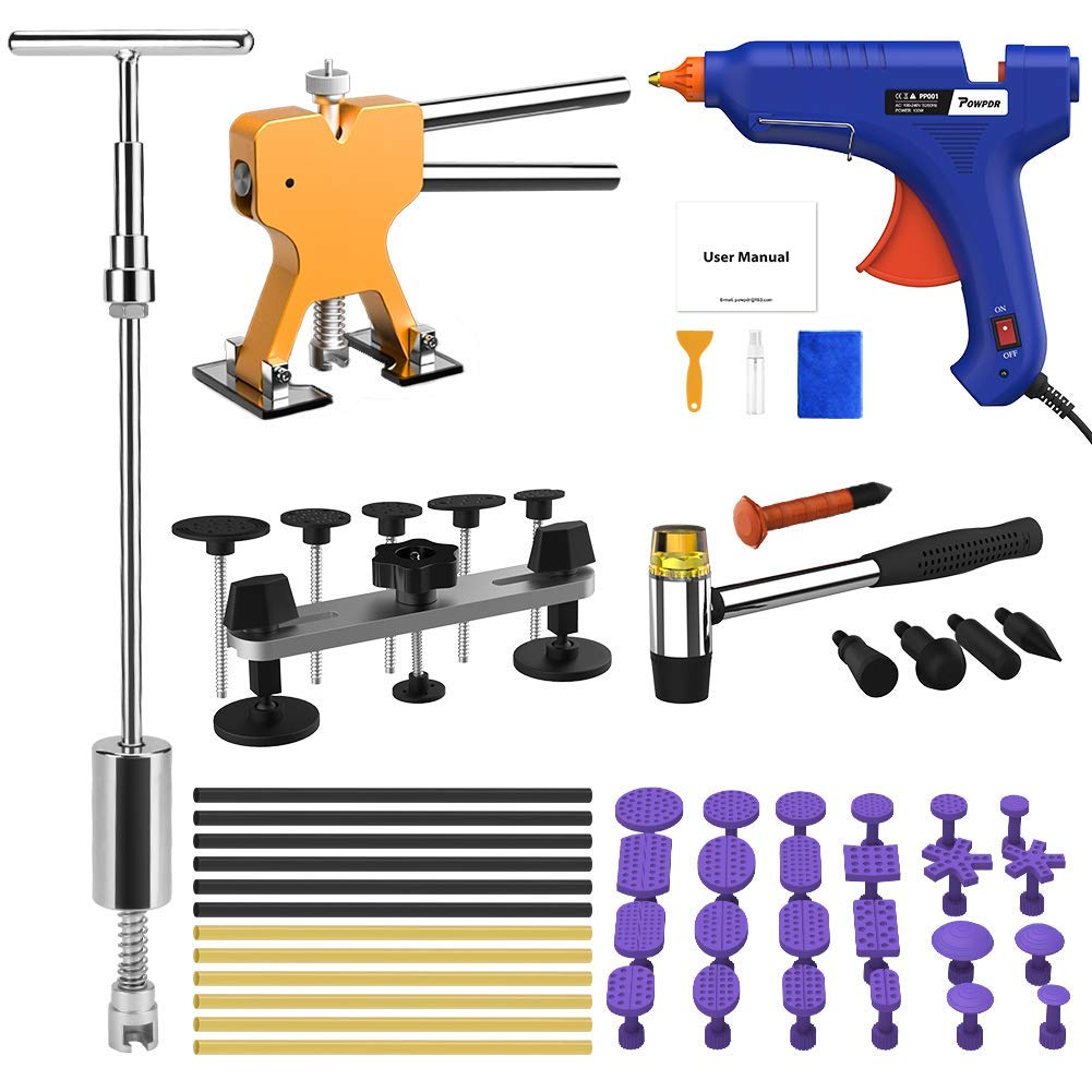 POWPDR Paintless Dent Repair Removal Tool Kit with Slide Hammer, Bridge Dent Puller, Golden Dent Lifter, 100W Glue Gun, Car Auto Body Dent Remover Device for Automobile Body Motorcycle Refrigerator