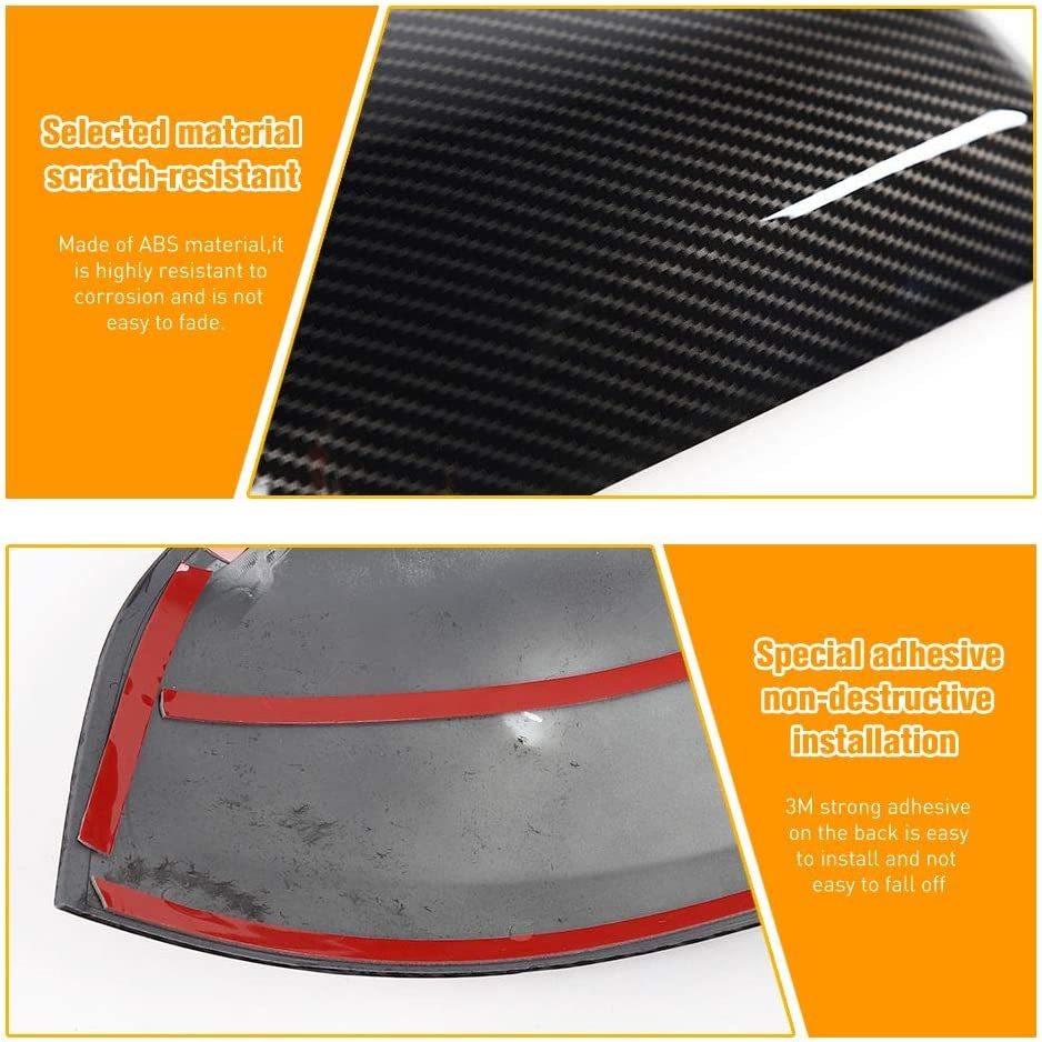 JeCar Rearview Mirrors Side Mirror Rear View Mirror Trim Cover for 2011-2020 Jeep Grand Cherokee Carbon Fiber