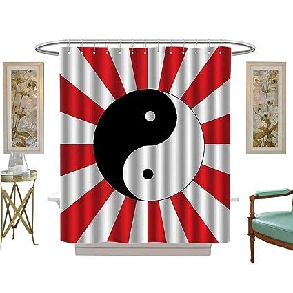 PRUNUS Shower Curtains Mildew Resistant Traditial Asian Themed Ying Yang Chinese Rising Sun Sunburst Satin Fabric