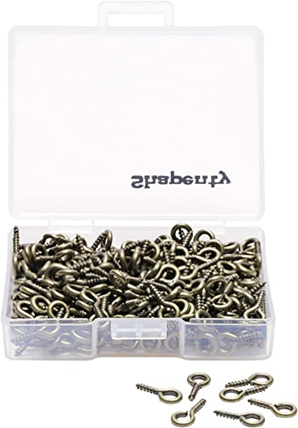 Shapenty 300PCS Mini Metal Hoop Peg Screw Eye Pin Hook for Arts /& Crafts Proj...