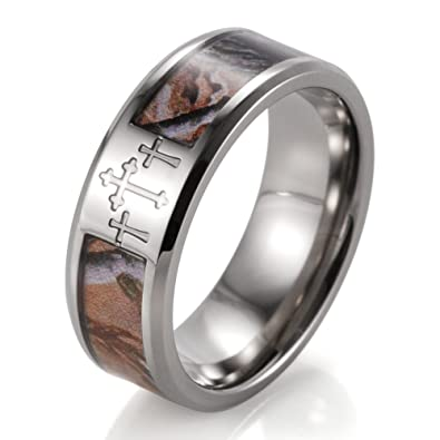 SHARDON Mens 8mm Titanium 3 Crosses Tree Camo Wedding Ring Size 8
