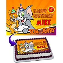 Tom and Jerry Edible Image Cake Topper Personalized Icing Sugar Paper A4 Sheet Edible Frosting Photo Cake 1/4 ~ Best Quality Edible Image for cake
