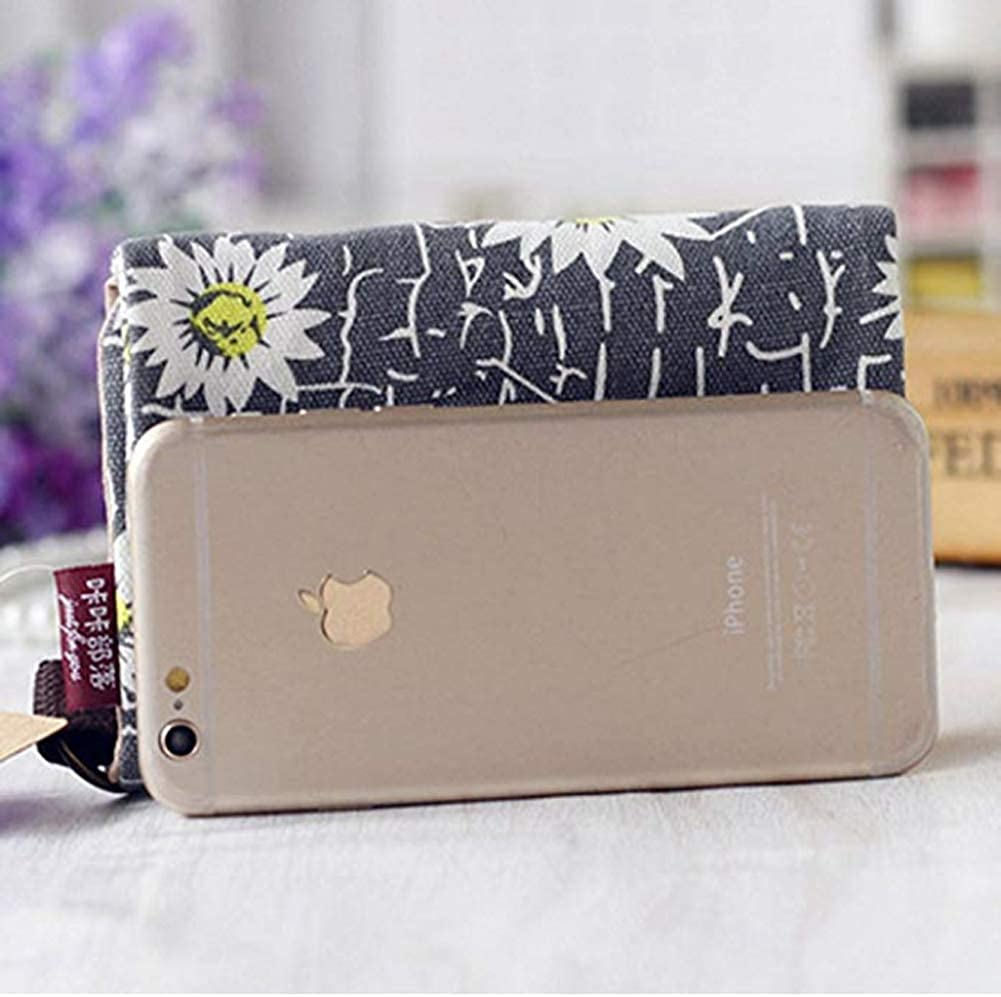 YaJaMa Women Girls Small Foldable Wallet Canvas Coins Purse with Keyring Key Wallet