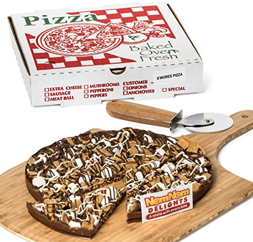 Caramel Popcorn Pizza - Gourmet Chocolate Gift Box | Smores Candy Chocolate Lovers Popcorn Pizza | Kosher Certified - By NomNom Delights
