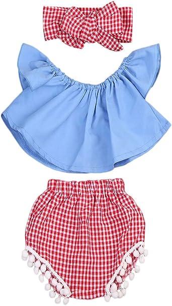 Ropa Bebe NiñA Verano NiñAs Pantalones Cortos Hombros Descubiertos Chaqueta Negra Pantalones Cortos Cabeza Cuerda Camisa Azul Pantalones Cortos A Cuadros: Amazon.es: Ropa y accesorios