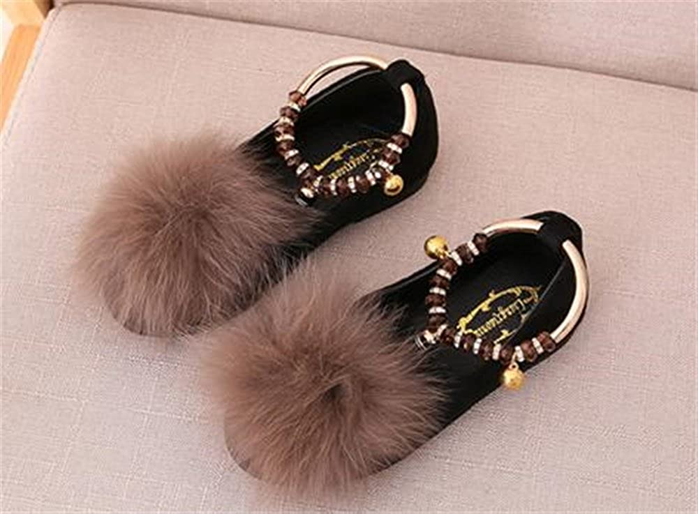 Facnyww Girls Princess Sandals Toddler Baby Fur Sandals Casual Single Shoes