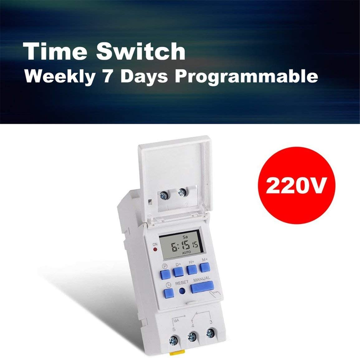 SINOTIMER AC 220V Weekly 7 Days Digital Programmable Time Switch Relay Timer Control Din Rail Mount for Electric Appliance fghfhfgjdfj