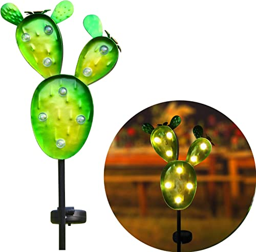 Kaixoxin Garden Solar Lights Outdoor Metal Cactus Decorative Stake, Solar Pathway Lights with 9 Warm White Waterproof LED, 32.75 Tall