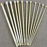 12Size 25Cm 3.0Mm-10.0Mm Bamboo Afghan Tunisian Crochet Hooks Needles Knitting Needle Set^.