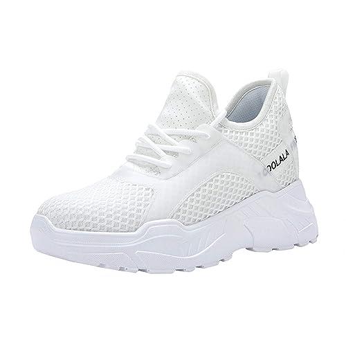 AONETIGER Zapatillas con Cuña Mujer Zapatillas de Deporte Interior Talón 7.5cm Transpirables Plataforma Sneakers(