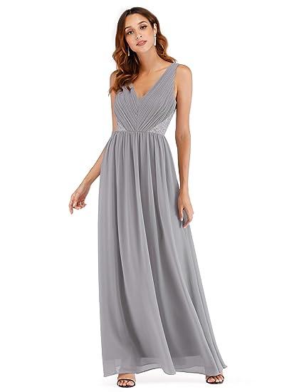 Ever Pretty Women s Elegant A Line V Neck Long Chiffon Formal Wedding Party  Dresses Grey 8UK 6ff84ceb4e32
