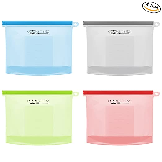 Reusable Silicone Food Preservation Bags, Food Savers, FDA & SGS Food Grade Silicone For Hot Cooking, Freezing, Snack Packing & Sous Vide Cooking. Airtight & Leak-Proof. 4 PCS, 4 Colors (Small Size)