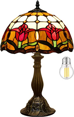 Tiffany Style Reading Table Lamp Bedside Desk Light W12H18 inch LED Bulb Included Tulip Flower Stained Glass Shade S030 WERFACTORY Lamps Lover Kid Living Room Bedroom Study Coffee Bar Antique Gift