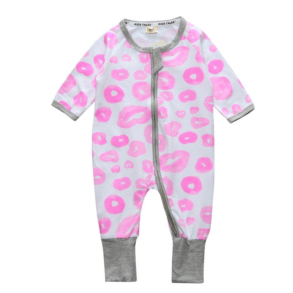 Baby Girls Footed Pink Lips Print Long Sleeve Sleeper Pajamas Romper Cotton Fuzhou Shang Ku Trade Co. Ltd.
