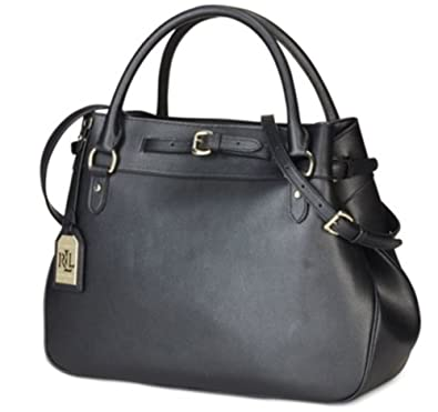 b0ac36184f Amazon.com  Lauren Ralph Lauren Layla Belted Satchel Black  Shoes