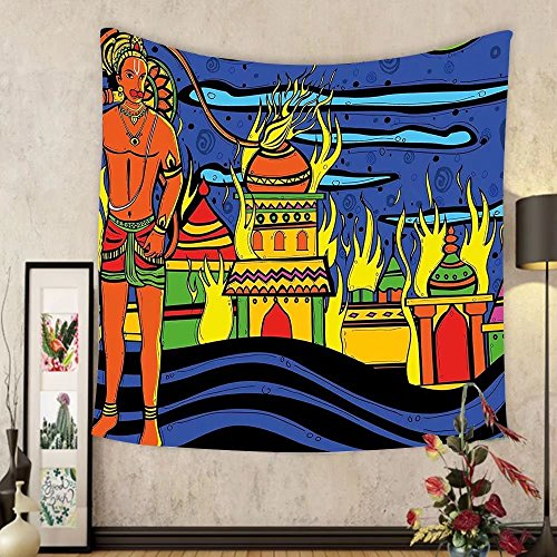 Gzhihine Custom tapestry Psychedelic Tapestry Indian Spiritual Faith Prince Eastern Tribal Ancient Oriental Bohemian Image for Bedroom Living Room Dorm 60 W X 40 L Orange Blue by Gzhihine