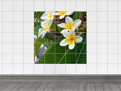 Piastrelle adesivo piastrelle immagine albero con fiori giallo