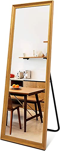 Niccy Full Length Mirror,Full Length Standing Mirror Wood Frame Floor Mirror Easy-to-Install Body Mirror Hanging Wall,65×22